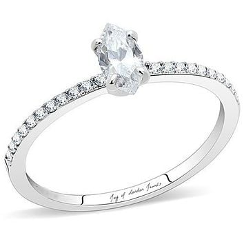 A Perfect .25CT Marquise Cut Russian Lab Diamond Engagement Ring