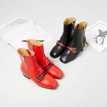 GUCCI Trending Women Fashion Print black leather Ankle boot sneaker Shoes Boots GUCCI GG Flat Heel Best Quality