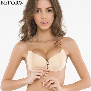BEFORW Women Invisible Bra Super Push Up Bra Seamless Self-Adhesive Sticky Bra Wedding Party Front Strapless A B C D Cup Fly Bra