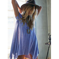 2016 Women Oversize T-Shirt Dress Casual Tunic Top Short Sleeve Solid Color Loose Tee Black/Blue