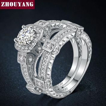 Luxury 2 Rings Sets Silver Color Bijoux Fashion Wedding Party Jewelry Cubic Zirconia Jewelry For Women Chirstmas ZYR478