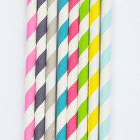 25 Striped Colored Paper Party Straws Party Decorations