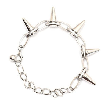 Spike Studs Chain Bracelet BA16 Silver Tone Bullet Edgy Punk Charm Bangle Fashion Jewelry