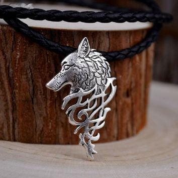 HUIDANG 1pcs dropshipping hot sell viking wolf men necklace celt wolf head pendant Fashion Jewelry Supernatural Amulet