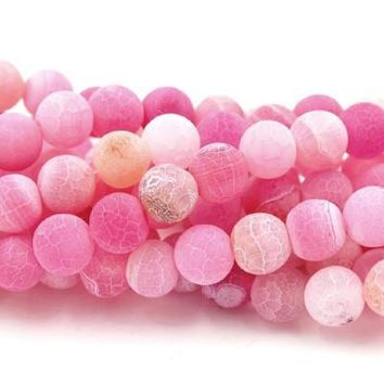 8mm Pink Agate Frosted Round Beads  -15 inch strand