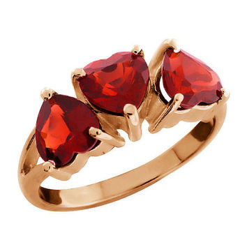 14Kt Rose Gold Plated Garnet Heart Ring