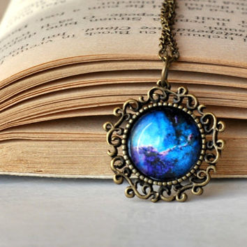 Blue Galaxy Mystical Necklace Space Glass Dome Pendant