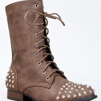 Bamboo Rascal-01 Lace Up Military Combat Mid Calf Studded Boot,Taupe Crp,8
