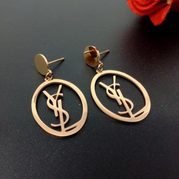 YSL Trending Ladies Temperament Metal Letter Earrings Stud Earrings