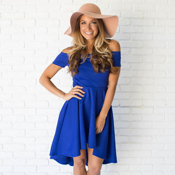 Swept Away Off Shoulder Dress In Royal Blue