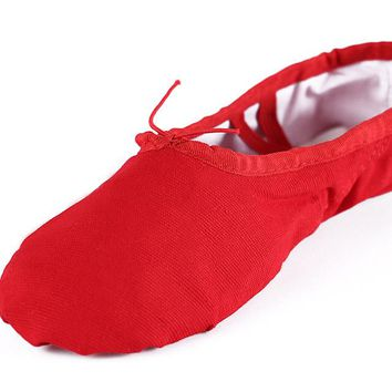 Breathable Canvas Ballet Dance Shoes Gym Yoga Practice Spile Sole Ballerina  Ballet Shoes For Girls Women aa971934dd