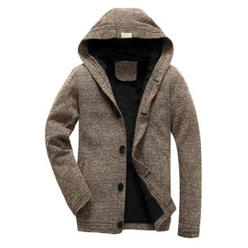 Mens hooded Knitted jacket