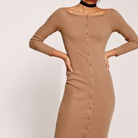 Missguided - Long Sleeve Bardot Rib Midi Dress Tan