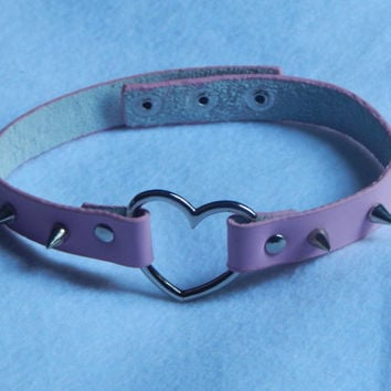 Vegan Friendly Spiked Red/Pink Heart Collar