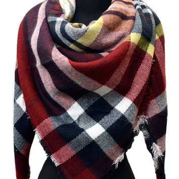Blanket Burgandy Plaid Scarf