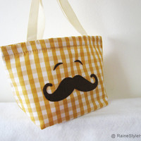 Smiling Mustache Mustard Yellow Plaids Small by RaineStyleHome