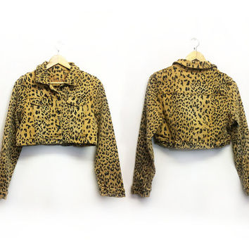 Vintage 90's Ultra Cropped LEOPARD Denim Jacket || Size Small Medium