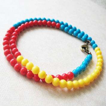 Bright Colorful Beaded Necklace - Rainbow Mod