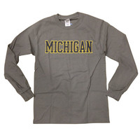 Everyday Values New Agenda University of Michigan Charcoal Gray Long Sleeve Basic Tee