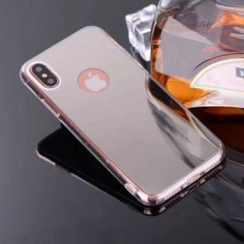 Apple iPhone X Case, Iphone 10, Reflective Mirror Easy Grip Slim Armor Case for Iphone X - Silver