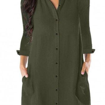 Army Green Long Sleeve Button Down Crepe Shirt Dress