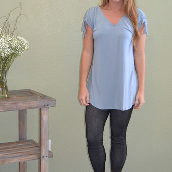 Soft Blues Drawstring Shoulder Top