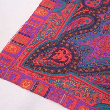 Persian Print Scarf, Purple Blue Red Paisleys and Moroccan Rug Motif, 80s Jewel Tones, Very Large Square