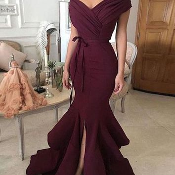 Trendy Mermaid Off-Shoulder Split Burgundy Satin Long Prom Evening Dress N5305