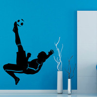 Soccer Wall Decals Man Football Player Sport Gym Boy Wall Decor Decal Vinyl Sticker Home Decor Vinyl Art Wall Decor Nursery Room Decor KG88