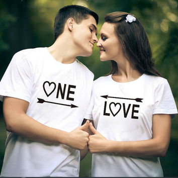 ONE LOVE Matching Couple shirts set women and men T-shirts boyfriend girlfriend his and hers shirts.