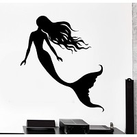 Wall Vinyl Decal Mermaid Romantic Bathroom Sea Ocean Home Decor Unique Gift z4177