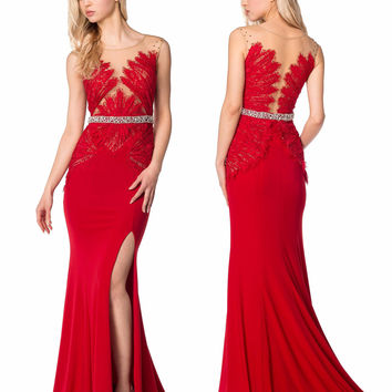 Colors 1281 In Stock Red SZ 14  Lace Jersey Sheer Illusion Prom Dress Evening Gown MOB