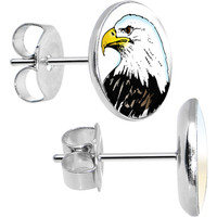 Stainless Steel Proud Bald Eagle Stud Earrings | Body Candy Body Jewelry