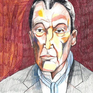 "Lucien Freud. Colored Pencil Drawing. Portrait. 8"" x 10"". Original Illustration"