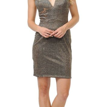V-Neck Short Party Dress with Spaghetti Strap Gold