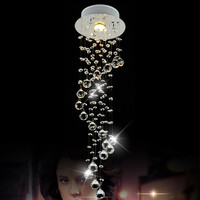Modern LED Crystal Chandelier Lighting Ceiling Chrome Spiral Lamp Light Fixtures Lutres foyer Avize Home Lighting lampadario