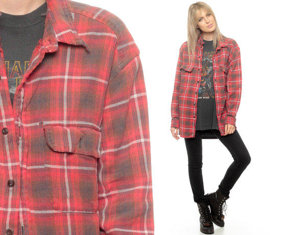 Oversized flannel shirt 80s plaid shirt from shopexile on etsy for Oversized red plaid shirt