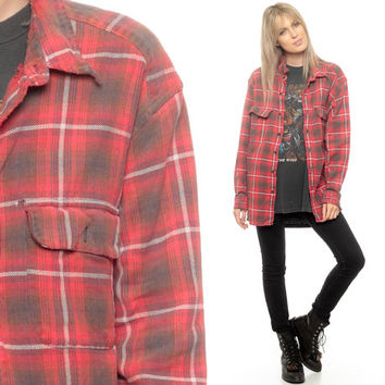 Oversized Flannel Shirt 80s Plaid Shirt Red Brown Lumberjack Grunge Vintage Lumberjack Long Sleeve Women Men Retro Small Medium Large