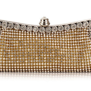 Full Diamond Evening Party Purse Black/Gold/Silver With Shoulder Chain