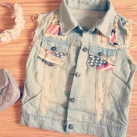 Patriot Girl - Cute (Faded Blue Jean) Denim Vest - Size: 6/8 Small/Medium - Smoky Mountain Boutique