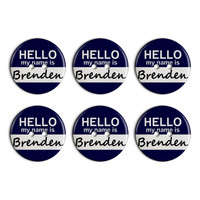 Brenden Hello My Name Is Plastic Resin Button Set of 6