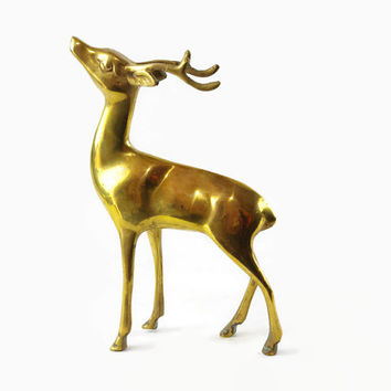 Vintage Brass Deer Figurine, Brass Deer Statue, Cabin Decor, Christmas Deer