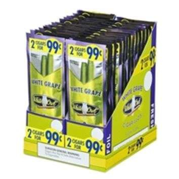 Cigars: White Owl / Cigarillos / Pre-Priced 2 for 99 Cents / 30 Pouches / White Grape