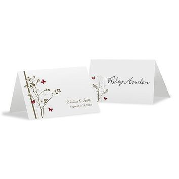 Romantic Butterfly Place Card With Fold Vintage Pink (Pack of 1)