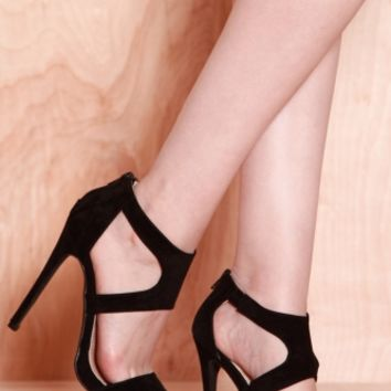 Black Faux Suede Cut Out Heels @ Cicihot Heel Shoes online store sales:Stiletto Heel Shoes,High Heel Pumps,Womens High Heel Shoes,Prom Shoes,Summer Shoes,Spring Shoes,Spool Heel,Womens Dress Shoes