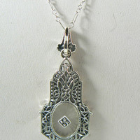 Victorian Camphor Glass Onyx and Diamond Sterling Silver Necklace