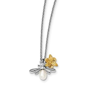 Sterling Silver White Ice Diamond Gold-Plated Flower & Cultured Pearl Bee Necklace