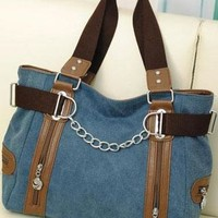 Simple Zip Chain Leisure Canvas Handbag