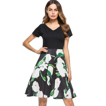 Berydress Elegant Women Sexy V-neck Short Sleeve Midi Dress Floral Patchwork Casual Flare A-Line Skater Dress with Pockets