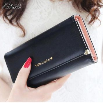 Bolsas 2017 Money Clip Purses Lady Women Clutch Long Purse Leather Wallet Credit Business Bags Men Wallets Carteira feminina